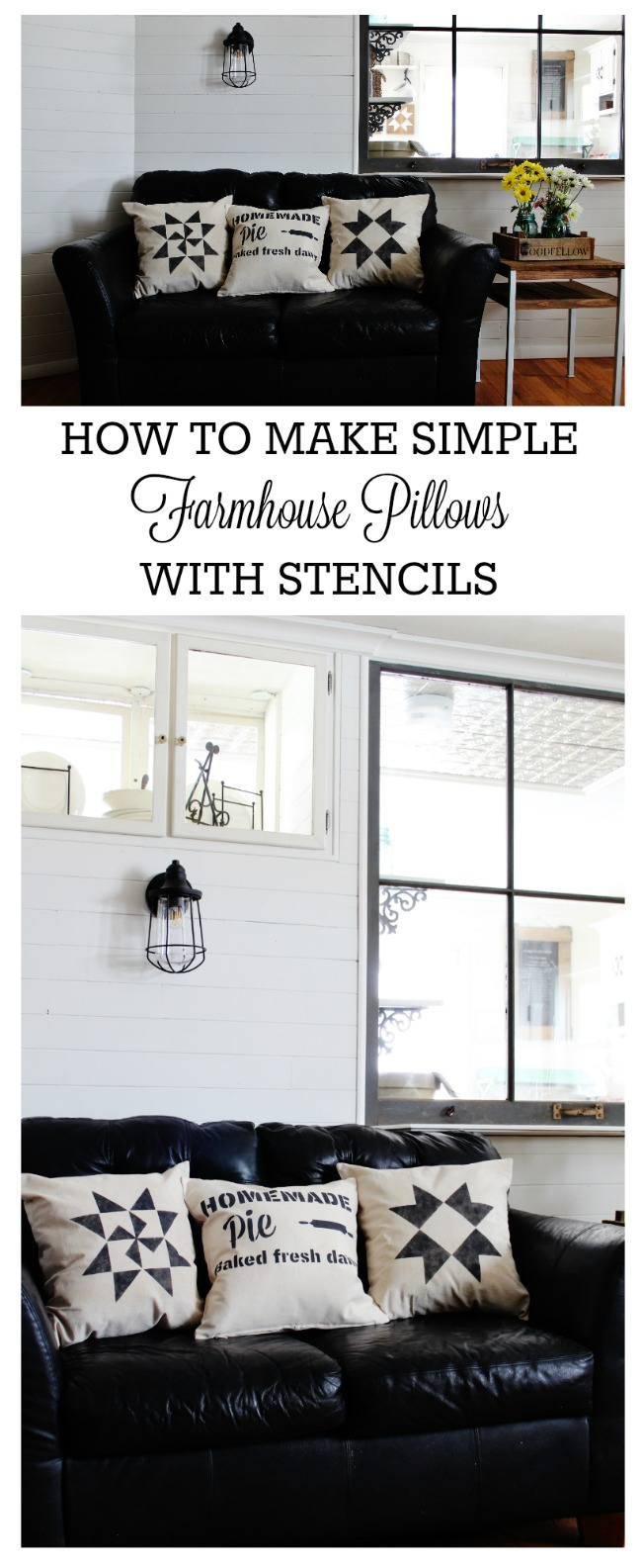 How to Make Simple Farmhouse Painted Decorative Throw Pillows in about 10 minutes with Vintage Sign Stencils | www.knickoftime.net