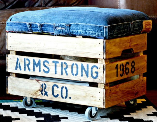 Ikea hack DIY repurposed denim jeans storage ottoman by Pillar Box Blue featured at Talk of the Town www.knickoftime.net
