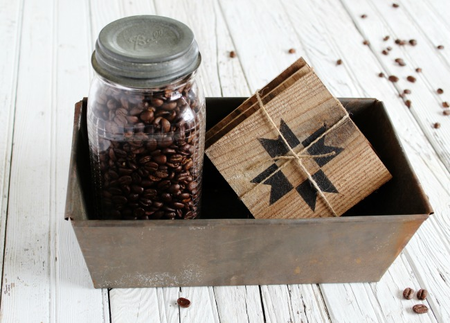 Make a set of quilt block rustic wood coasters in about 15 minutes! They make the perfect inexpensive gift for a coffee drinker! Get the how-to at Knick of Time | www.knickoftime.net