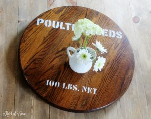 Quick Fixer Upper Project | Lazy Susan Gets a Farmhouse Style Feed Sack Makeover