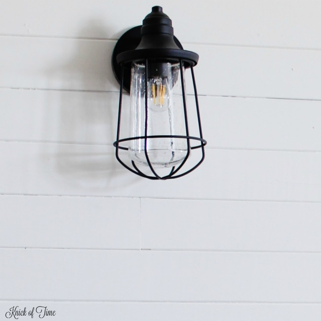 Farmhouse Industrial Wall Light on Shiplap Walls | www.knickoftime.net