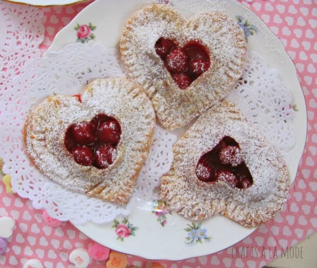 Heart Shape Valentine Cherry Pies by Crafts a la Mode | featured at Talk of the Town | www.knickofime.net