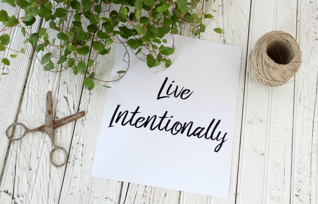 "Inspirational image ""Live Intentionally"" free art printable 