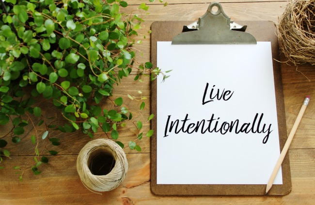 "Decorative inspirational image printable ""Live Intentionally"" 