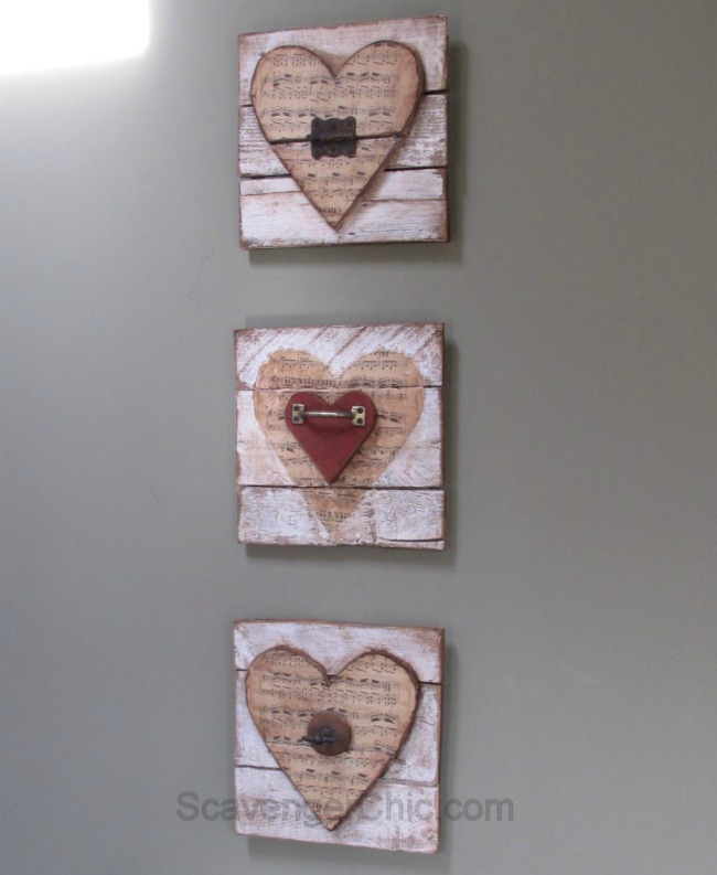 Pallet Wood Valentine wooden hearts by Scavenger Chic | featured at Talk of the Town | www.knickoftime.net