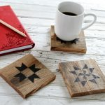 DIY Salvaged Wood Quilt Block Coasters & Ceramic Tiles