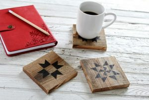 DIY Salvaged Wood Quilt Block Coasters & Ceramic Tiles
