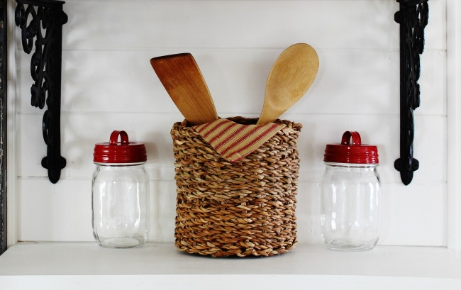 Farmhouse Decor Sale Red stripe ticking towels and mason jar handled lids available from Knick of Time | www.knickoftime.net