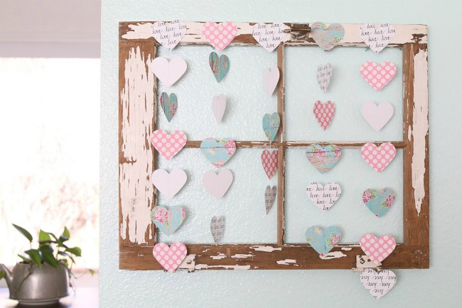 Scrapbook paper valentine hearts garland by A Fresh Squeezed Life | featured at Talk of the Town | www.knickoftime.net