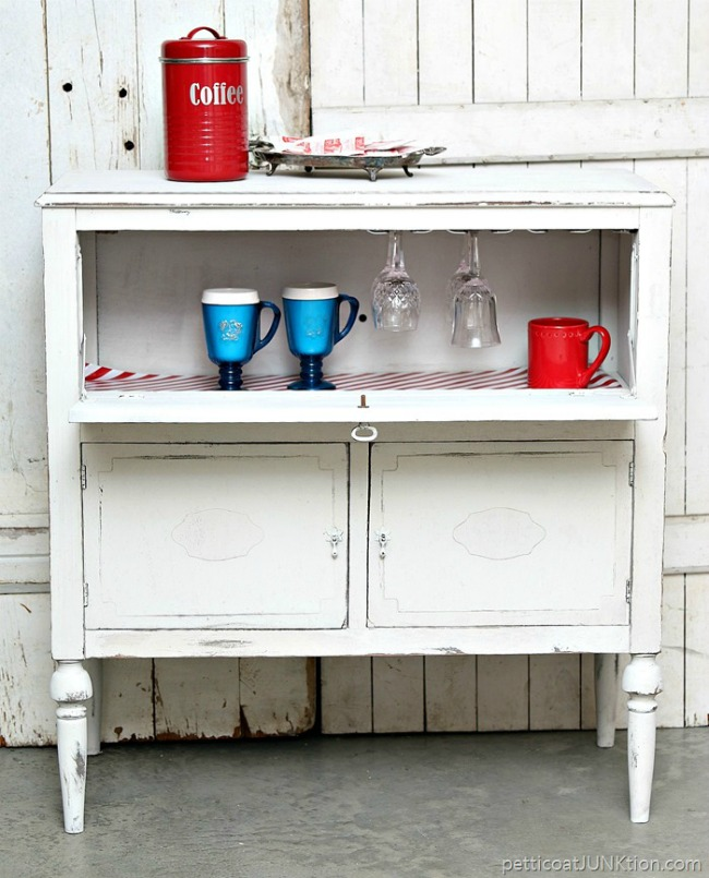 Upcycled Beverage Cabinet by Petticoat Junktion featured at Talk of the Town | www.knickoftime.net