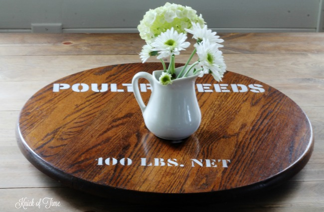 How to give a thrift store find an easy farmhouse style makeover | Upcycled oak lazy susan | www.knickoftime.net