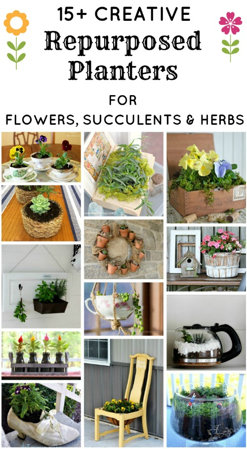 15+ Creative Repurposed and Upcycled Planters for Flowers, Succulents and Herbs | www.knickoftime.net