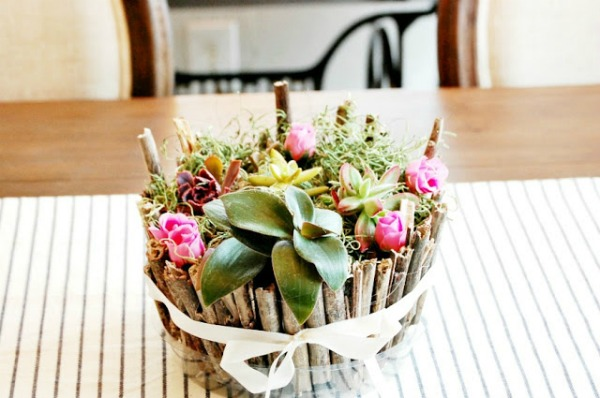DIY twig pot succulent planter | 15 Creative Repurposed Flower and Planter Ideas featured at Knick of Time | www.knickoftime.net