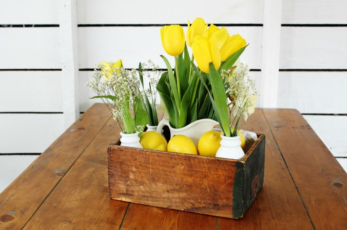 Lemons and tulips rustic crate spring centerpiece | www.knickoftime.net