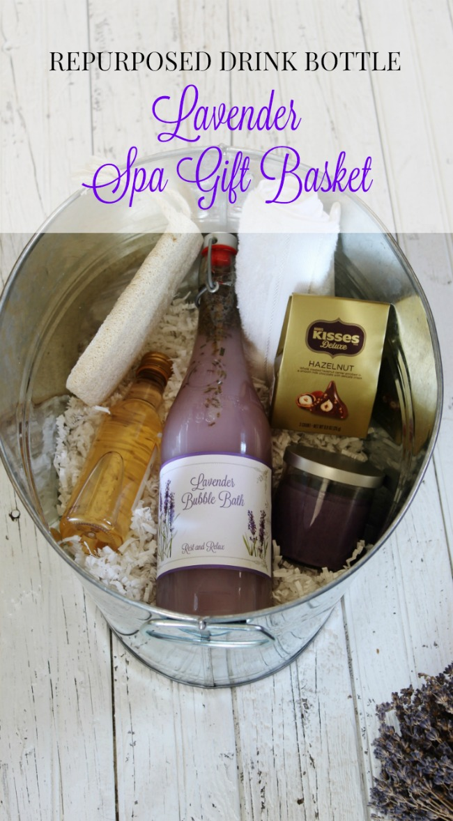 DIY Lavender Theme Spa Gift Basket with Repurposed Bottle for Bubble Bath. Perfect for Mother's Day, Bridal Showers & Get Well Gifts! | www.knickoftime.net