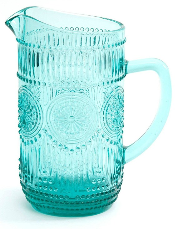 Affordable Farmhouse Kitchen Gift Ideas The Pioneer Woman Turuoise Glass Pitcher | www.knickoftime.net