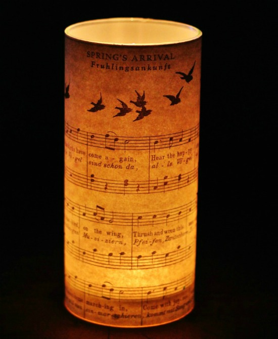 How to Make a Spring Candle Holder with Free Printable Antique Sheet Music | www.knickoftime.net