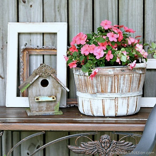 Upcycled Farmhouse Flower Basket | 15 Creative Repurposed and Upcycled Planter Ideas featured at Knick of Time | www.knickoftime.net