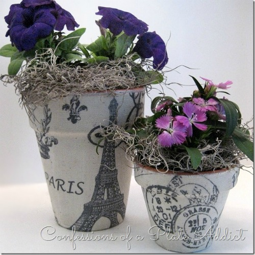 Fabric Covered Flower Pots | 15 Creative Repurposed and Upcycled Planter Ideas featured at Knick of Time | www.knickoftime.net