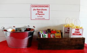 Family movie night theater concession stand with free printables | www.knickoftime.net