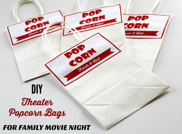 Family movie night theater popcorn bags free printable labels | www.knickoftime.net