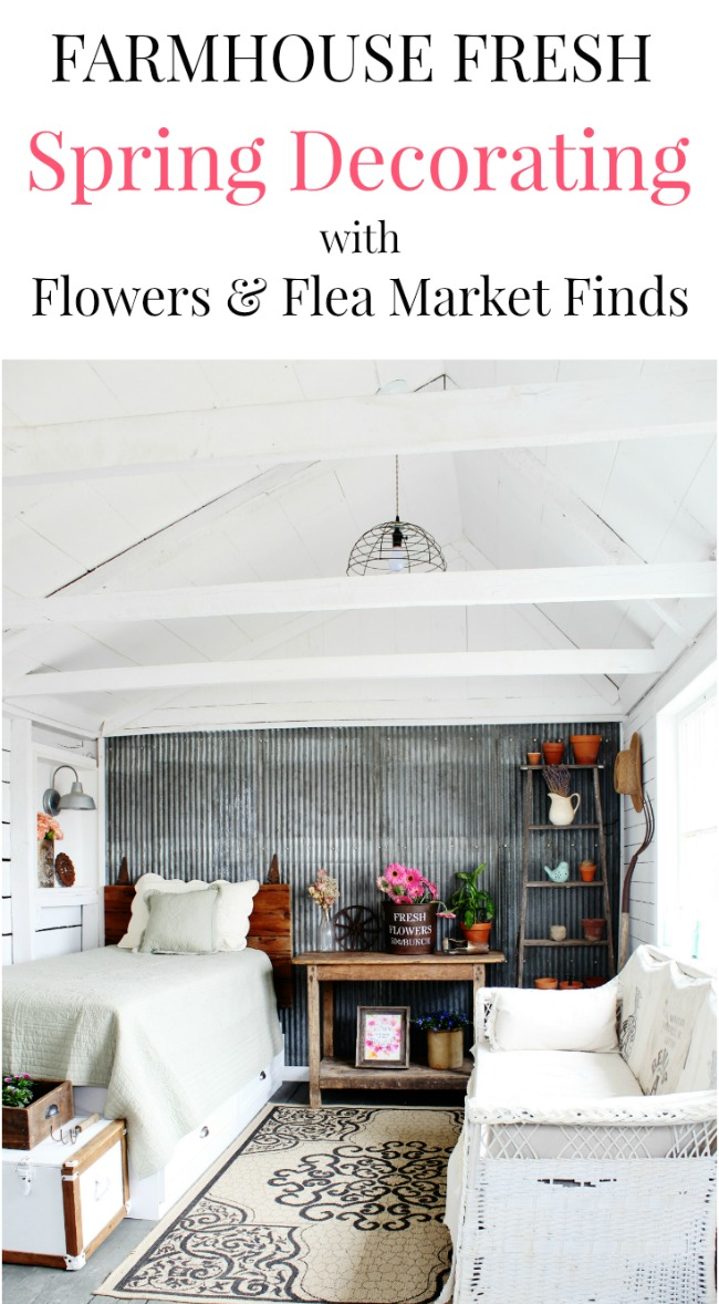 Farmhouse style spring decorating with flowers and flea market finds | www.knickoftime.net