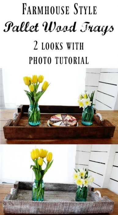Farmhouse style rustic pallet wood trays tutorial | www.knickoftime.net