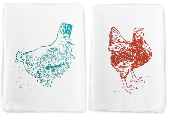 Screen Printed Chicken Towels | Farmhouse Kitchen Affordable Gift Ideas | www.knickoftime.net