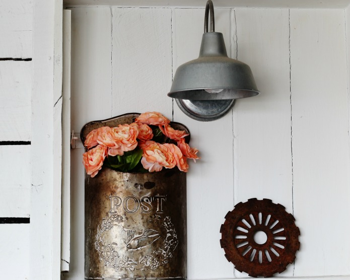 faux peonies in vintage style mailbox | www.knickoftime.net