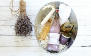 Bath Spa Gift Basket with Repurposed Soda Bottle Bubble Bath