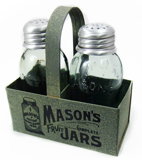mason jars salt and pepper shakers metal caddy farmhouse kitchen gift ideas | www.knickoftime.net