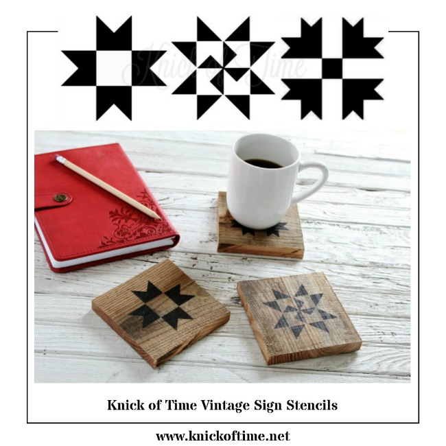 Create DIY home decor with these miniature size quilt block stencils from Knick of Time's Vintage Sign Stencils | www.knickoftime.net