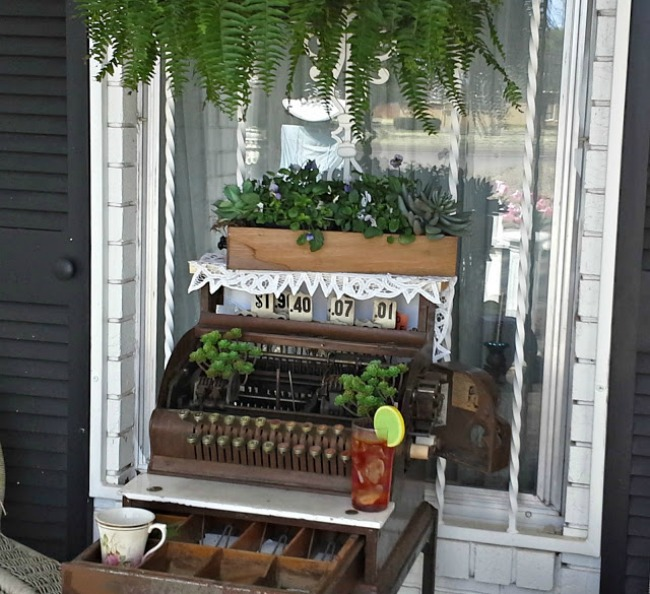 Creative Spring Projects with Vintage Finds | Antique Cash Register Plant Stand