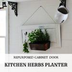 Herb Garden Kitchen Planter on a Cabinet Door & 15+ Repurposed DIY Planter Ideas