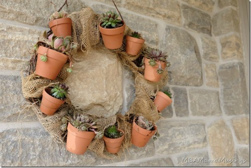 Flower Pots and Burlap Succulent Wreath |15 Creative Repurposed and Upcycled Planter Ideas featured at Knick of Time | www.knickoftime.net