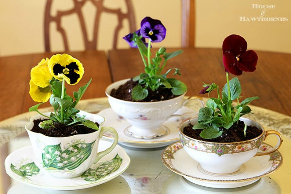 Pansies in Tea Cup Planters | 15 Creative Repurposed and Upcycled Planter Ideas featured at Knick of Time | www.knickoftime.net