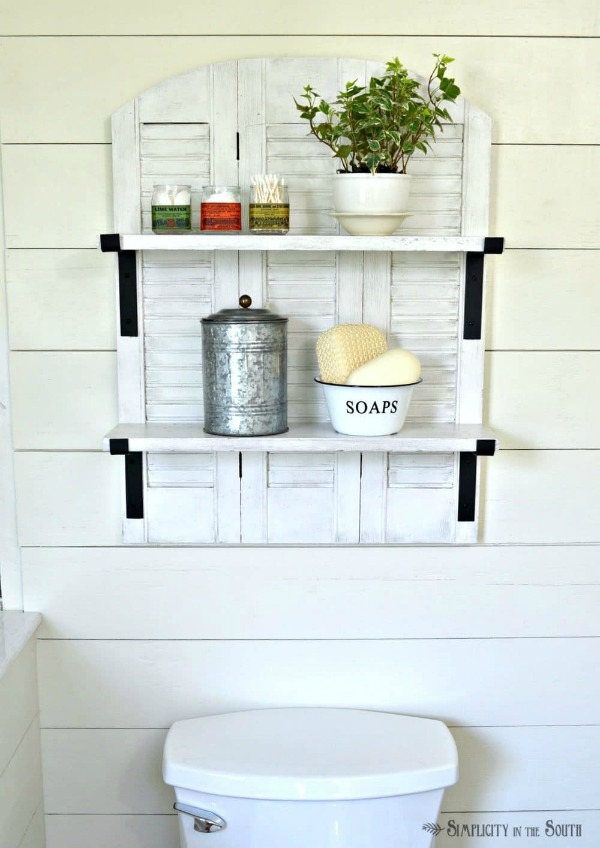 DIY Ballard Designs Inspired Shutter Shelf | Upcycled & Repurosed Thrift Store Makeovers