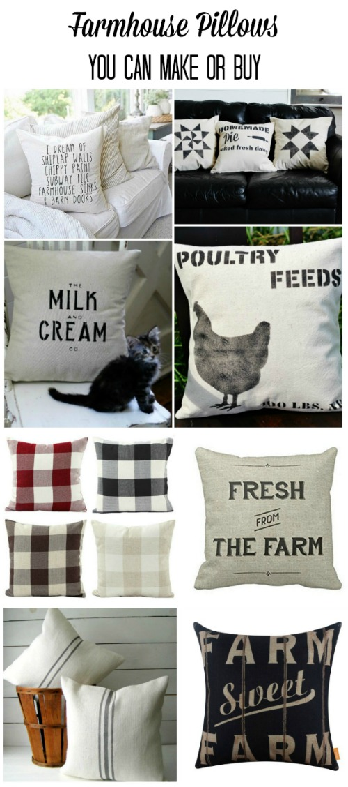 Farmhouse Style Pillows you can DIY or Buy | www.knickoftime.net