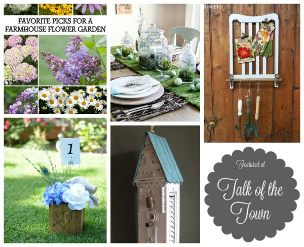 Talk of the Town featured links | farmhouse flower garden, Easter tablescape, shutter birdhouse, repurposed chair garden supplies hanger, rustic wedding wood flower centerpiece reatured at www.knickoftime.net
