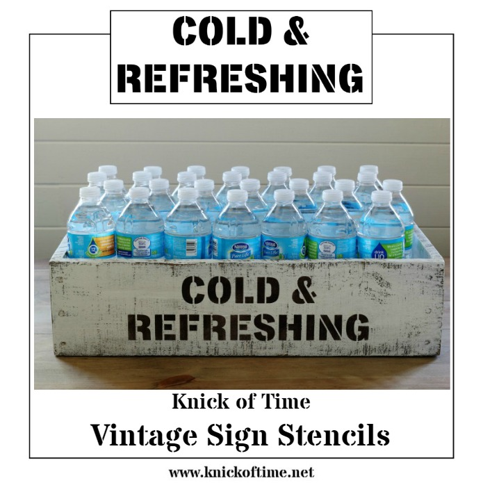 DIY rustic bottled drinks storage crate and drink serving station made with Knick of Time's Vintage Sign Stencils   www.knickoftime.net