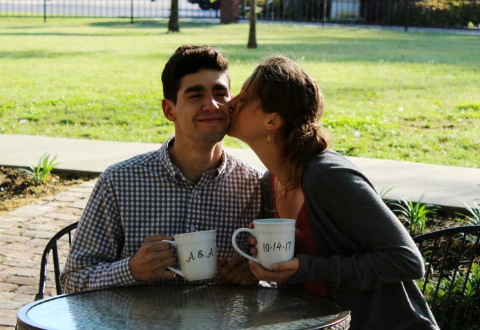Save the date coffee mugs engagement ring Knick of Time | www.knickoftime.net