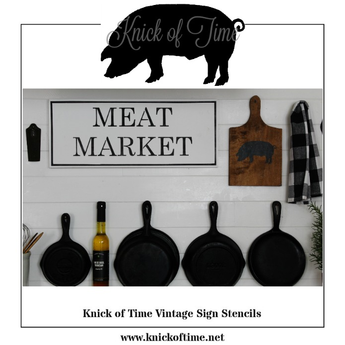 Farmhouse kitchen pig stencil available from Knick of Time's line of Vintage Sign Stencils | www.knickoftime.net