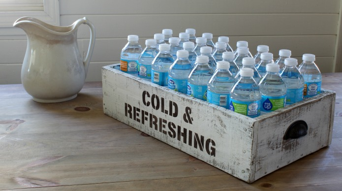 Pantry Storage DIY Farmhouse Style Rustic Wooden Crate Tutorial for Bottled Drinks and Water   www.knickoftime.net