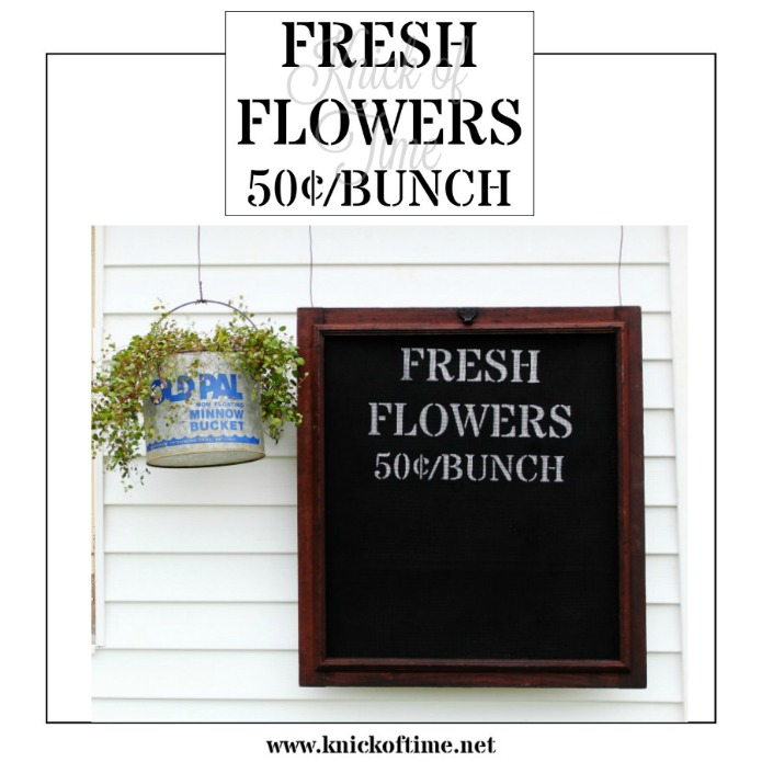 Fresh Flowers farmhouse style stencil from Knick of Time's Vintage Sign Stencils | www.knickoftime.net