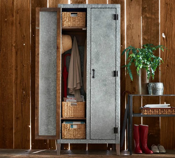 Pottery Barn galvanized metal cabinet locker