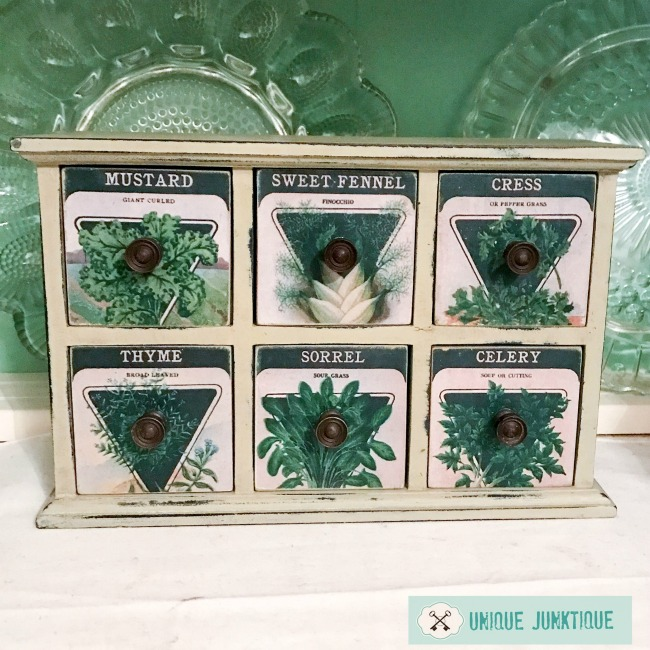 Weekending | garden seed packet cabinet from thrift store find