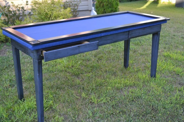 How to Turn a Plain Table into a Dual Purpose Desk and Gaming Table | Upcycled & Repurosed Thrift Store Makeovers