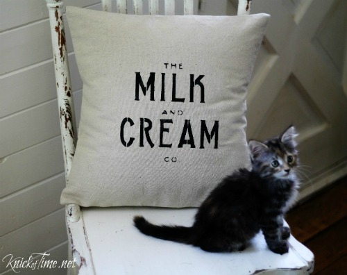 DIY Milk and Cream Co. pillow Farmhouse Style Pillows to Make or Buy | www.knickoftime.net
