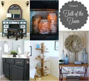 Featured at Talk of the Town | beautiful painted dresser, world map candles, painted bathroom cabinets, DIY standing open shelves and French farmhouse styled shutters | www.knickoftime.net