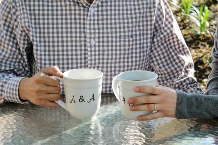 DIY Save the Date Coffee Mugs with bride and groom initials and wedding date | www.knickoftime.net